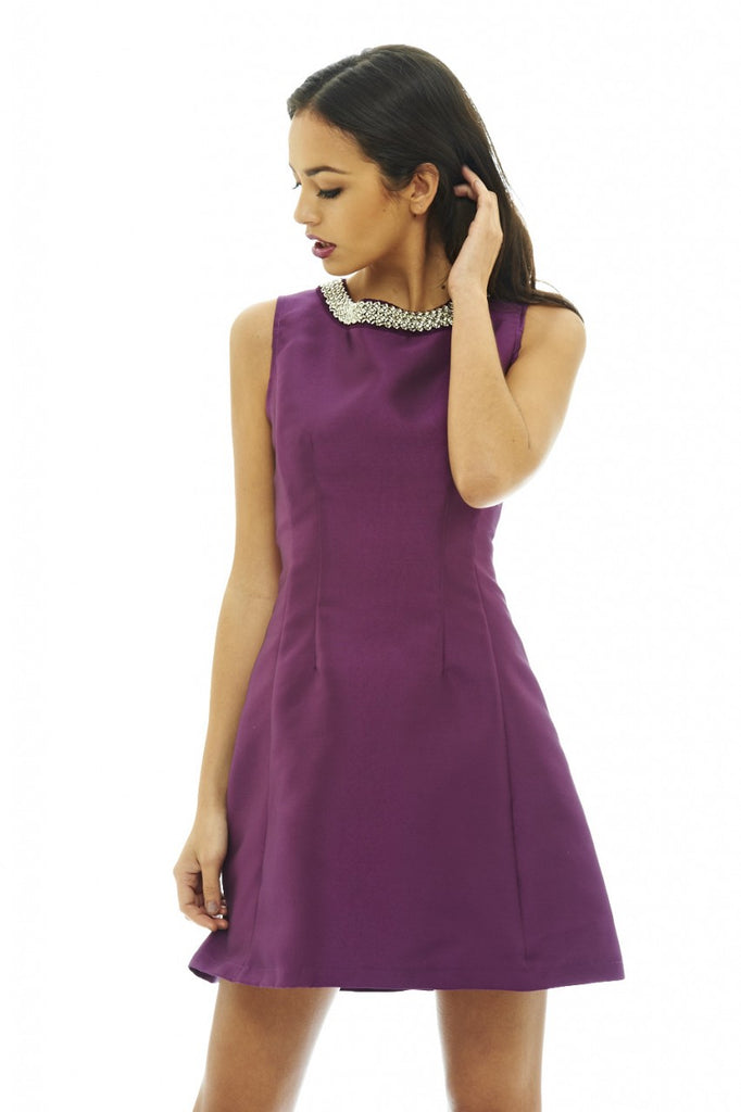 Jewel Neck Skater Dress