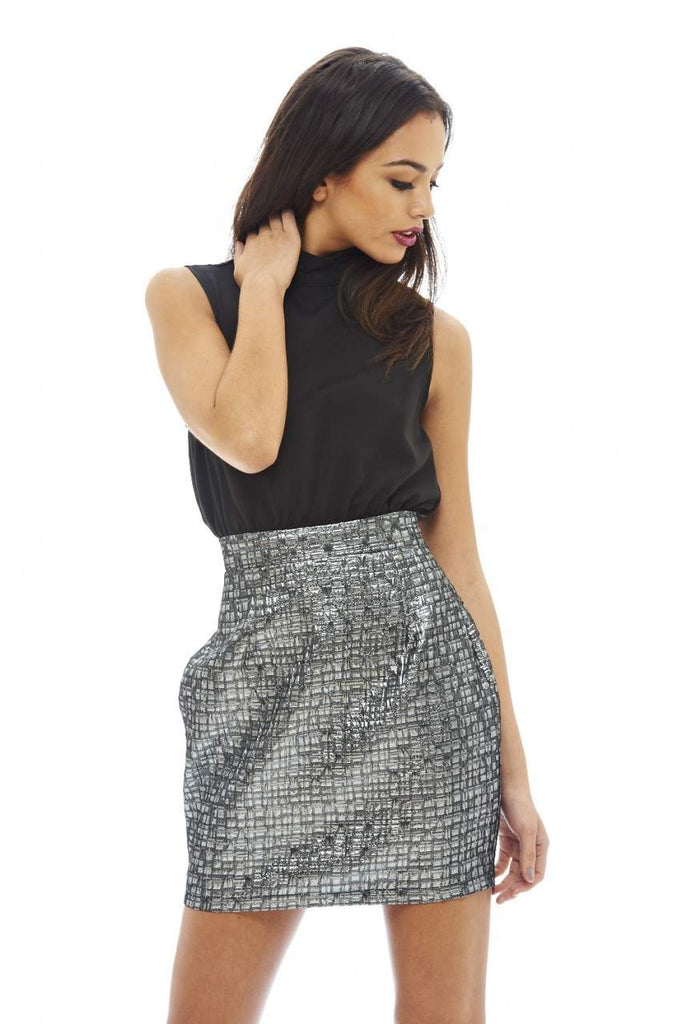2 in 1 Metallic Skirt Dress