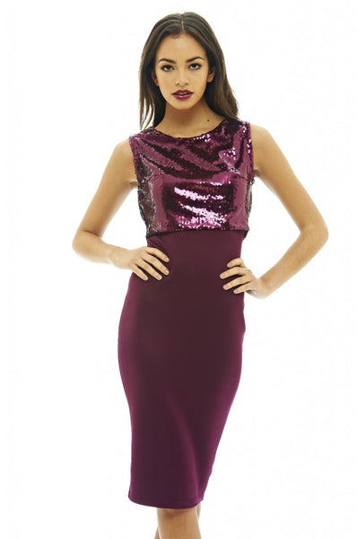Sequin Over Lay Bodycon Dress