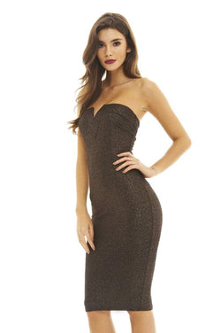 Metallic Boobtube Bodycon Midi Dress