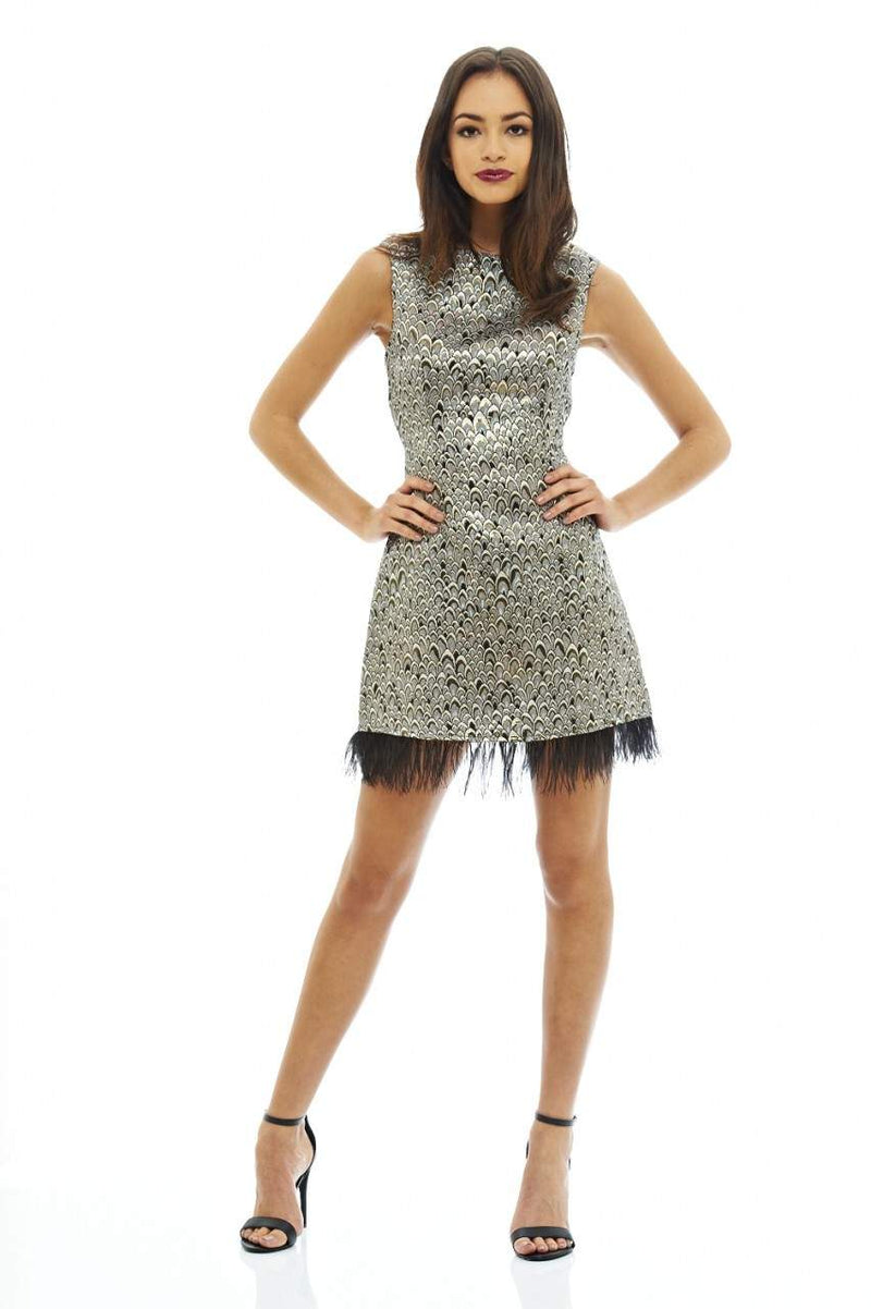 Feather Edged Metallic Dress