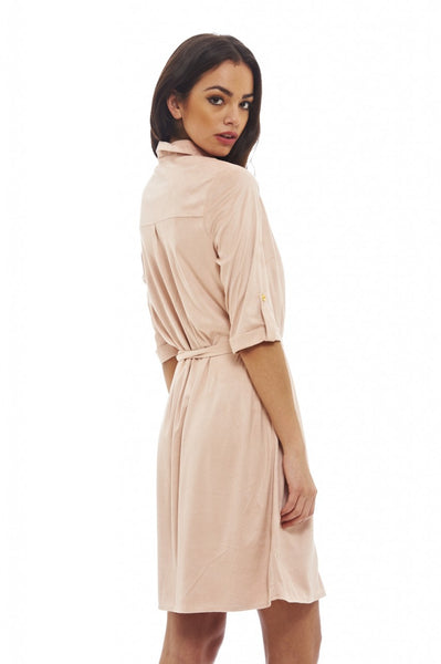 Suede Button Front Dress