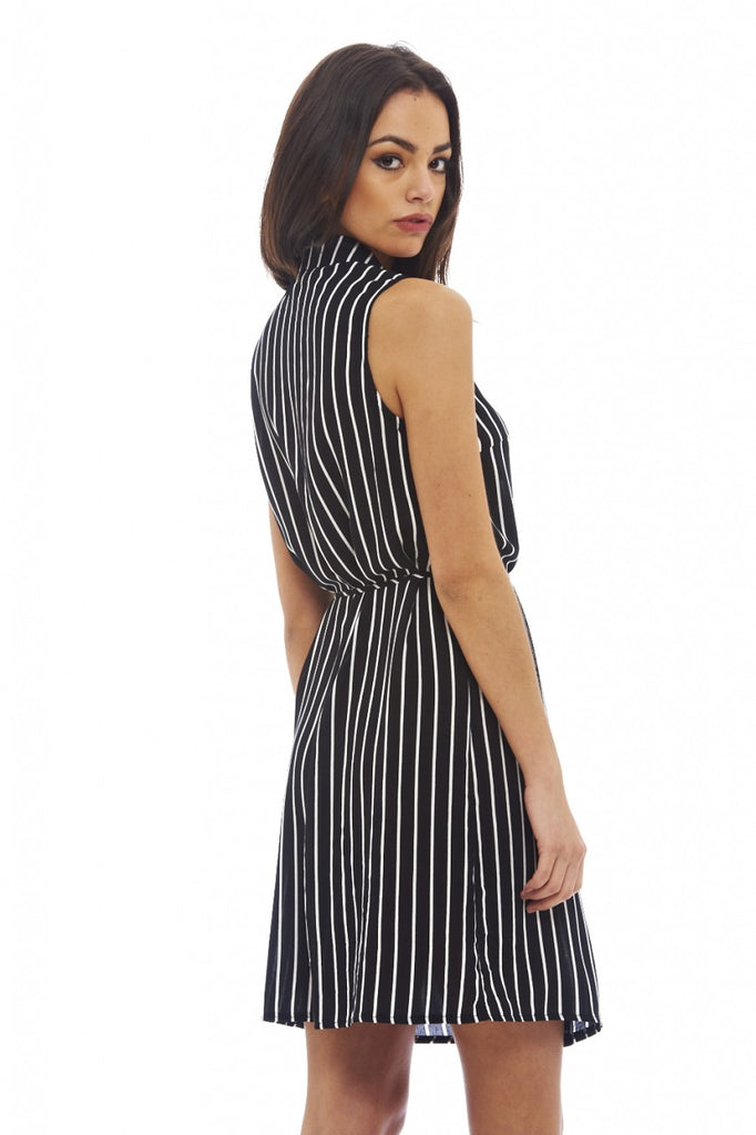 Pinstriped Sleeveless Shirt Dress