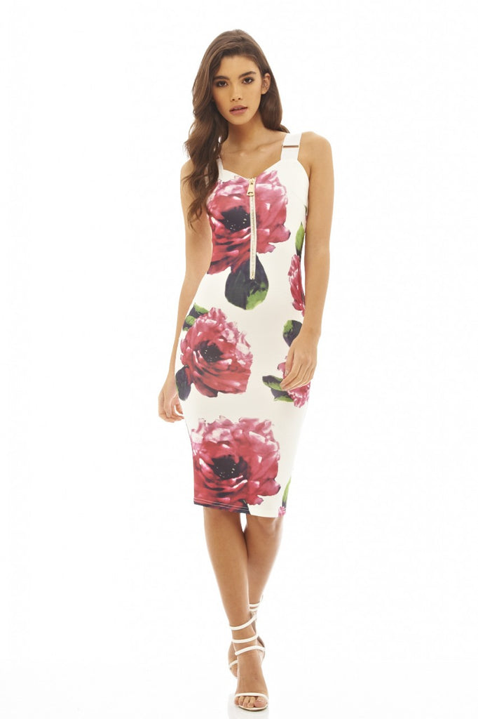 Zip Detail Floral Bodycon Dress