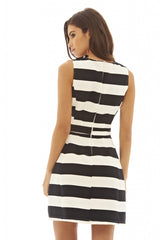 Striped Monochrome Skater Dress