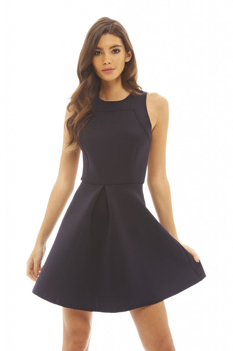 Raw Edged Scuba Skater Dress