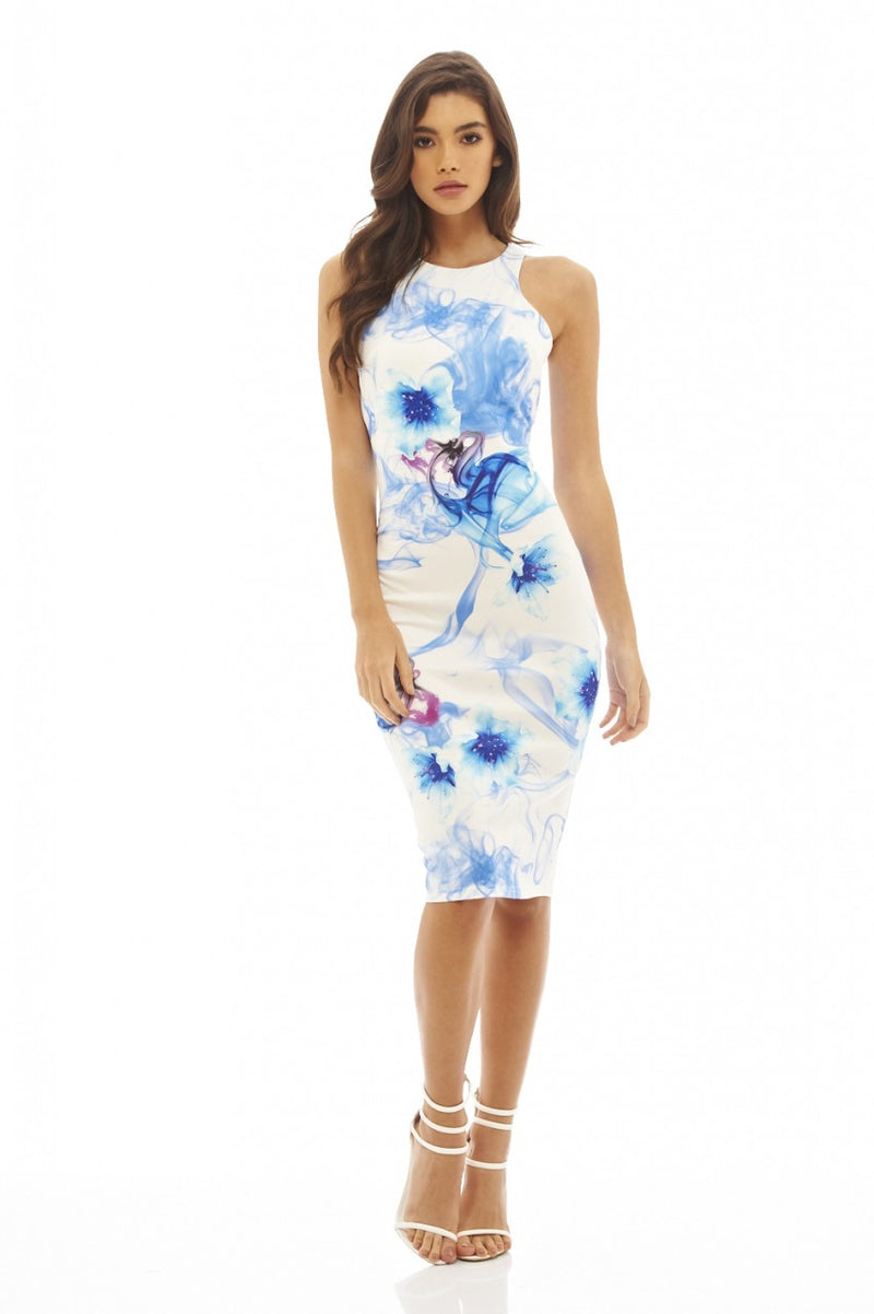 Floral Ink Printed Midi Dress