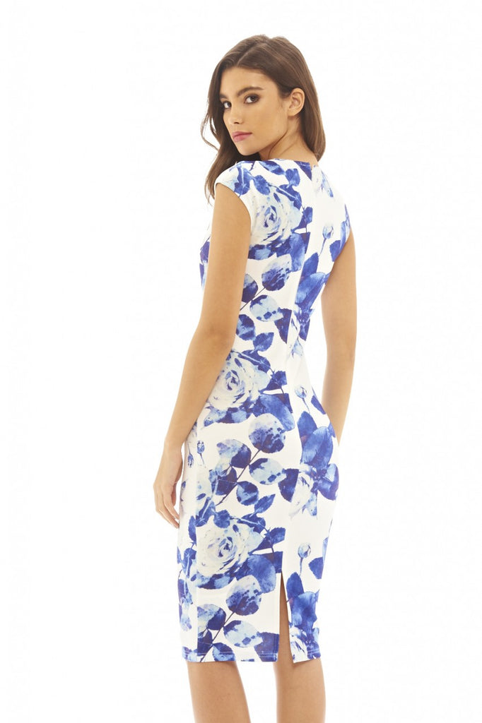 Rose Printed V Neck Midi Dress