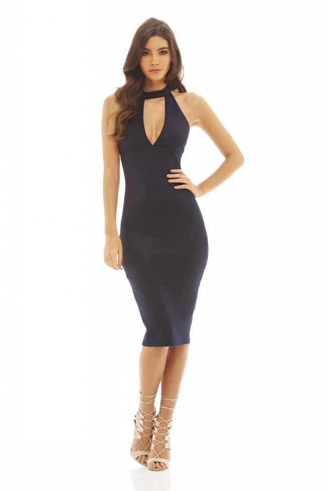 Cut Out Neck Midi Dress