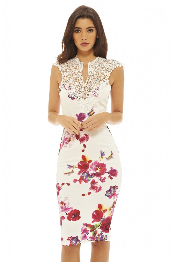 Crochet     Top Floral Midi Dress