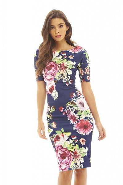 Bold Printed Floral Bodycon Dress