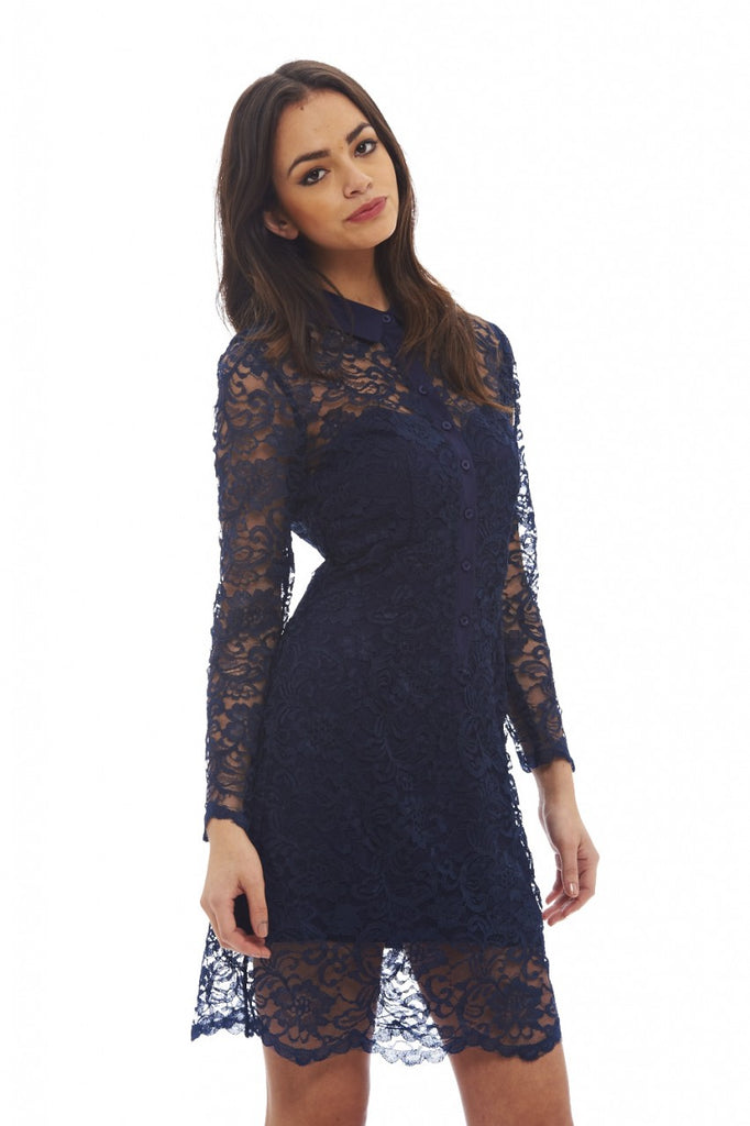 Lace  Shirt  Dress