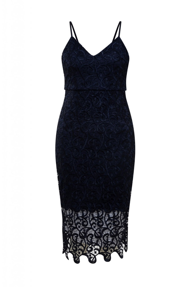 Navy V Neck Crochet Midi   Dress