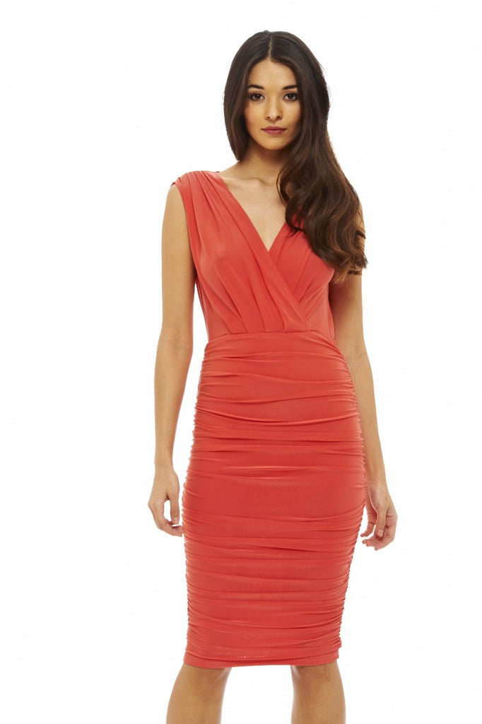 Ruched Wrap Front Midi Dress