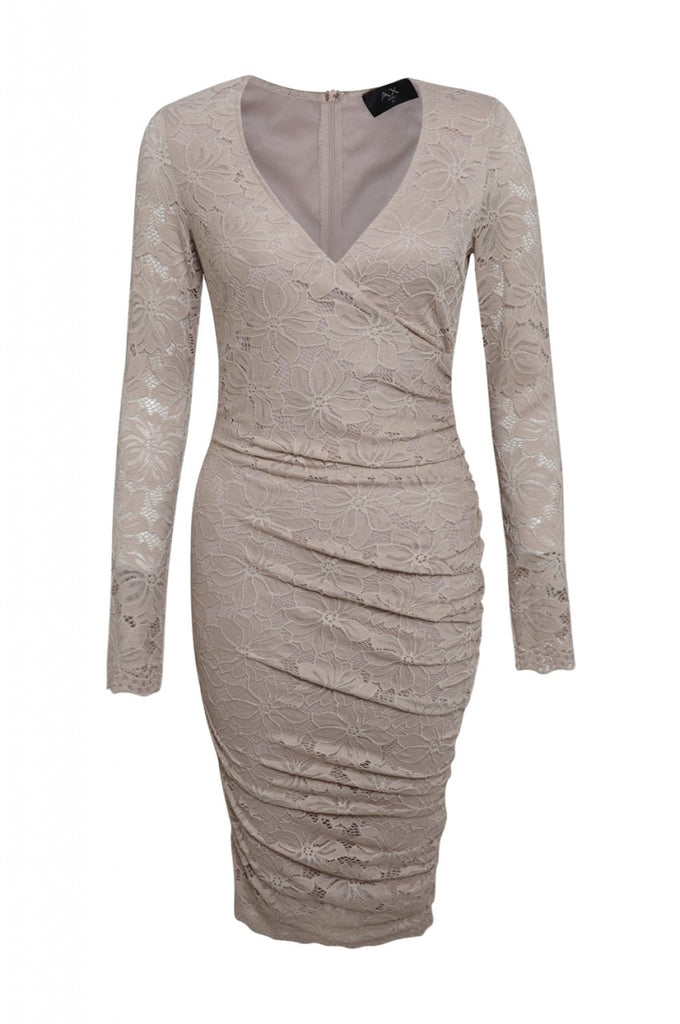 Long Sleeve Ruched Lace Dress
