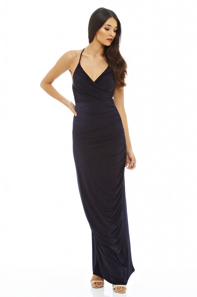 Ruched Slinky Maxi Dress