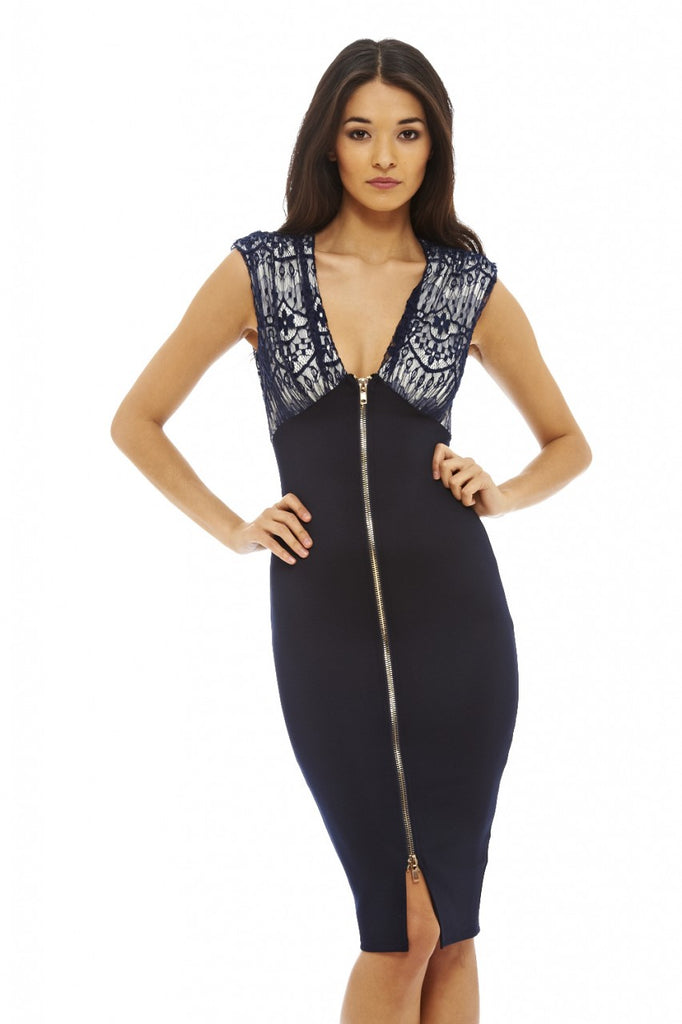 Lace Zip Front Bodycon Dress