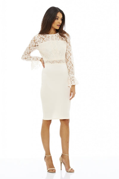 Long Sleeve Lace Midi Dress