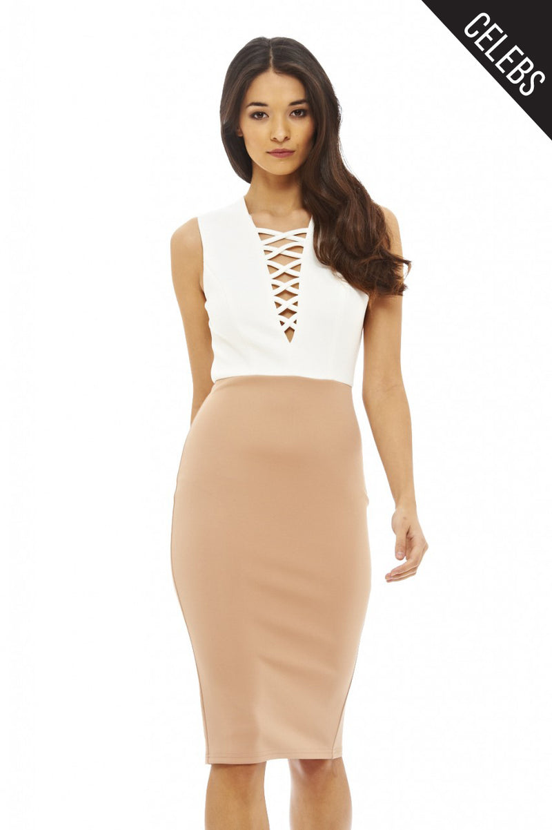 Lace Up Front Bodycon Dress