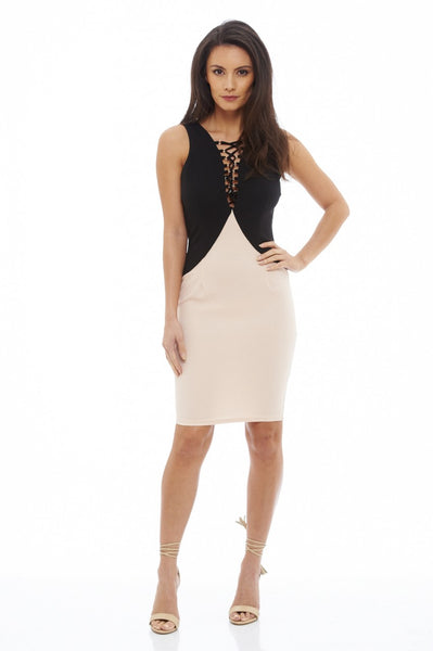 Lace Up Contrast Panel Dress