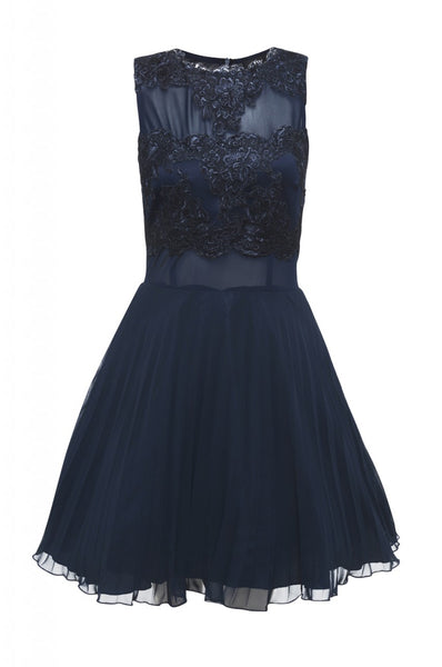 Navy Crochet Lace Skater Dress