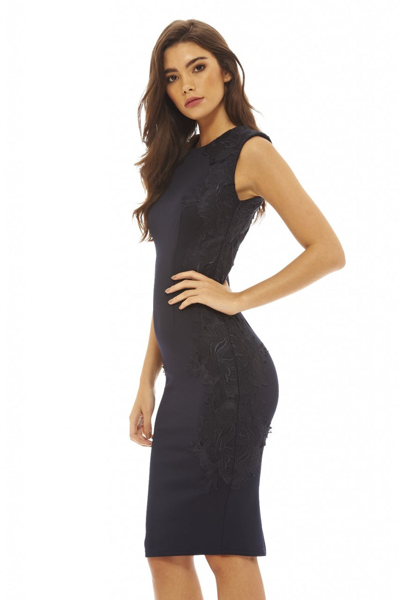 Navy Lace Side Bodycon  Dress