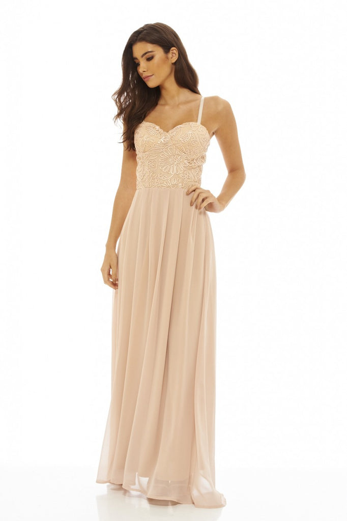 Nude  Maxi Dress with Lace  Bodice