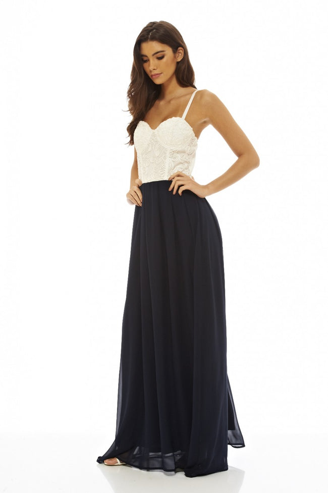 Contrast Lace Bodice Maxi Dress