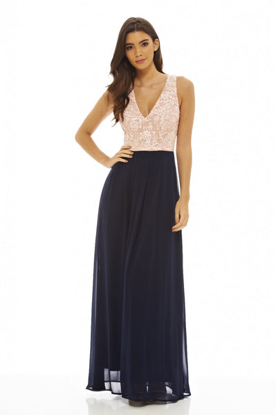 Contrast Lace Top Maxi Dress