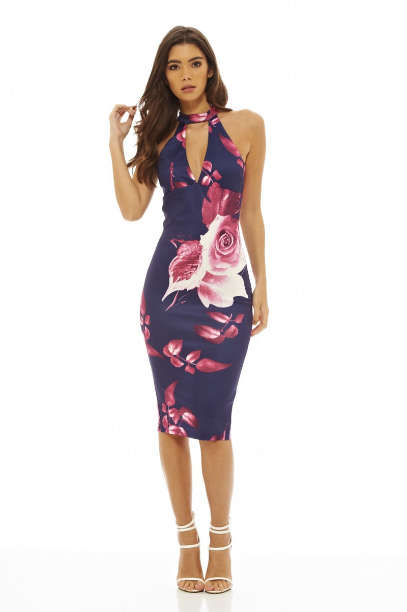 Cut Out Floral Bodycon Dress