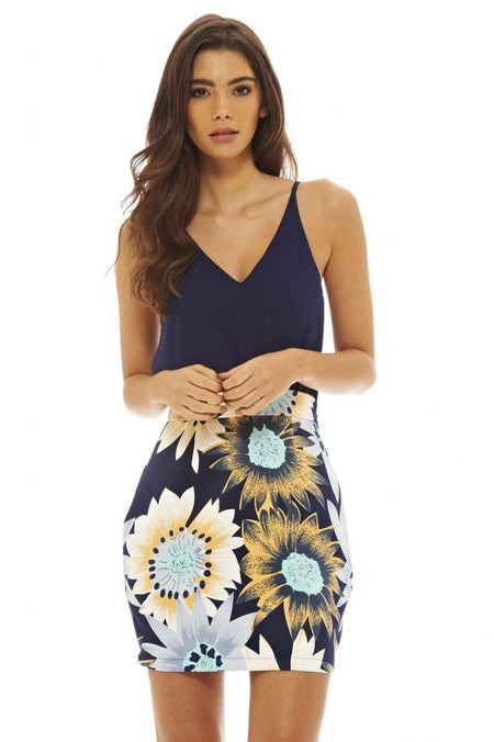 Floral 2 in 1 Printed Skater Dress