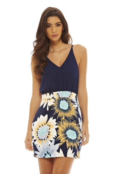 2 In 1 Sunflower Print Dress