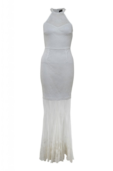 Cream Halterneck Maxi Dress