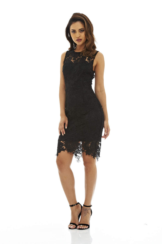 Black Crochet Lace Dress with Sleeveless Detail