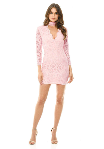 Pink Lace Choker Bodycon Mini Dress