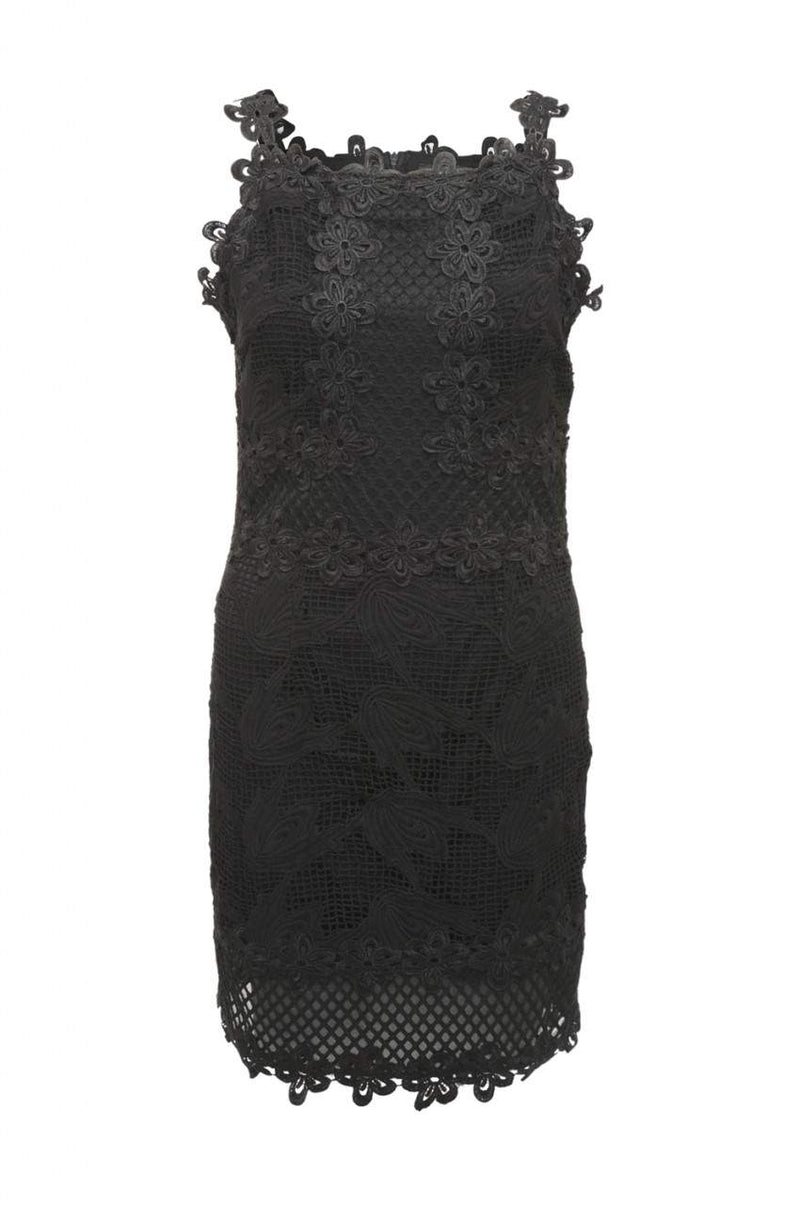 Black  Mini Dress with Lattice Crochet Detail