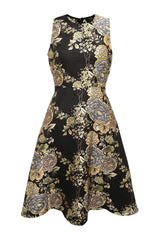 Black Floral Skater Dress with Metallic Detail
