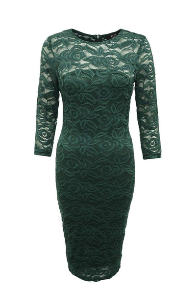Green 3/4 Bodycon Midi Dress with Sleeves