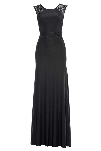 Black  Maxi Dress with Lace Insert Detail