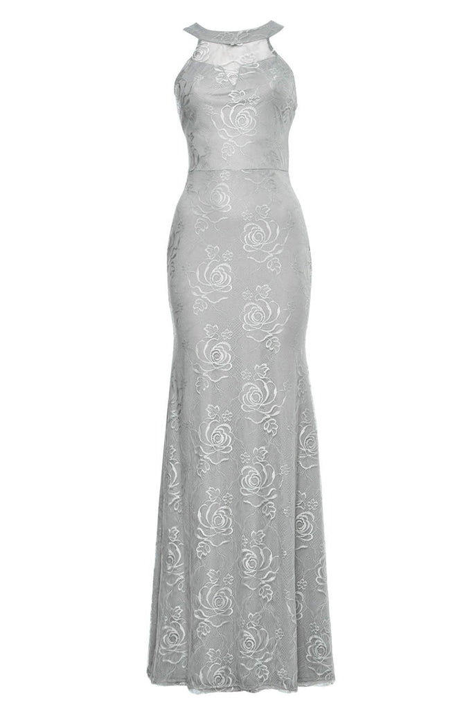 Grey Lace Sleeveless  Maxi Dress