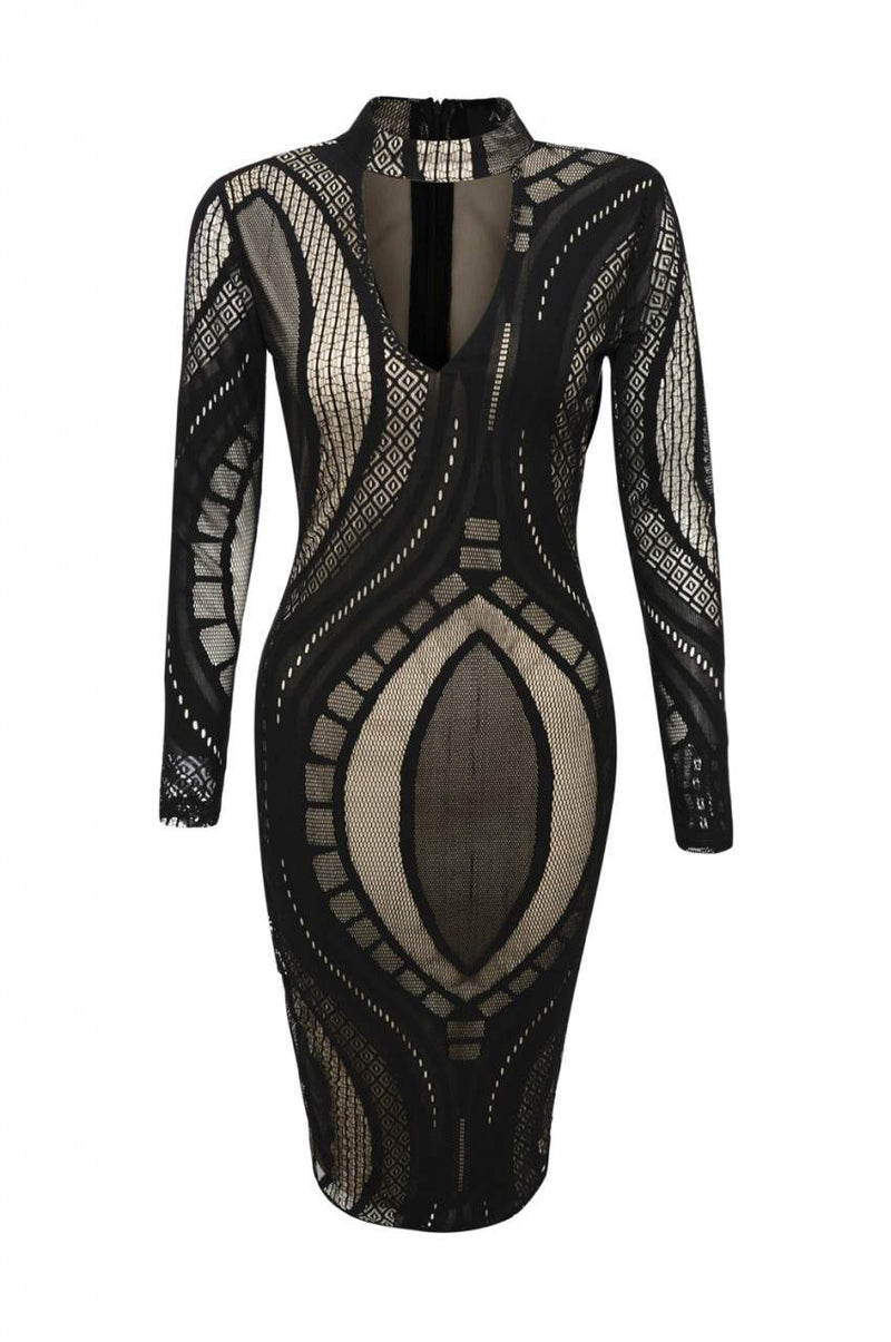 Black/Nude Mesh Bodycon Dress with Contrast Cut-Out-Neck Style