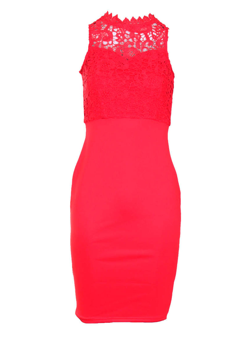 Red High Neck Crochet Bodycon Dress