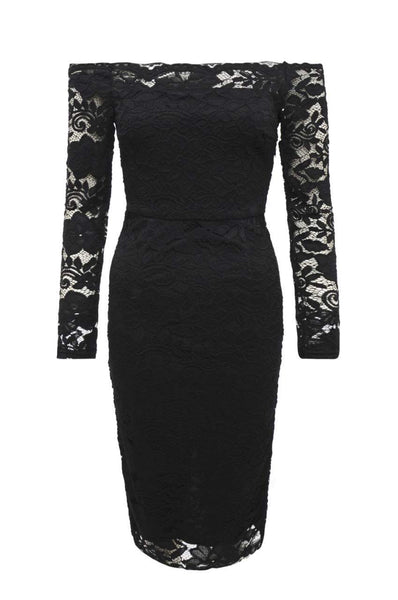 Black Midi Dress with Lace and Off -the-Shoulder Style