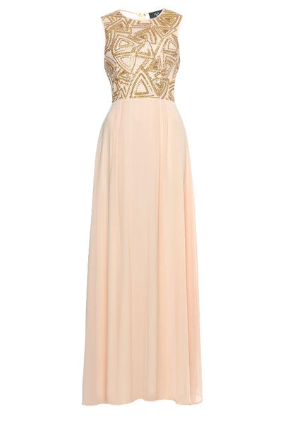 Nude Sequin Chiffon Maxi   Dress