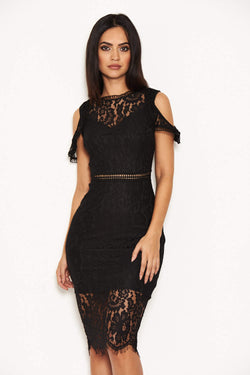 Black Lace Cold Shoulder Midi Dress