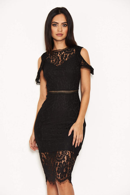 Black Strappy Lace Skirt Frill Hem Dress