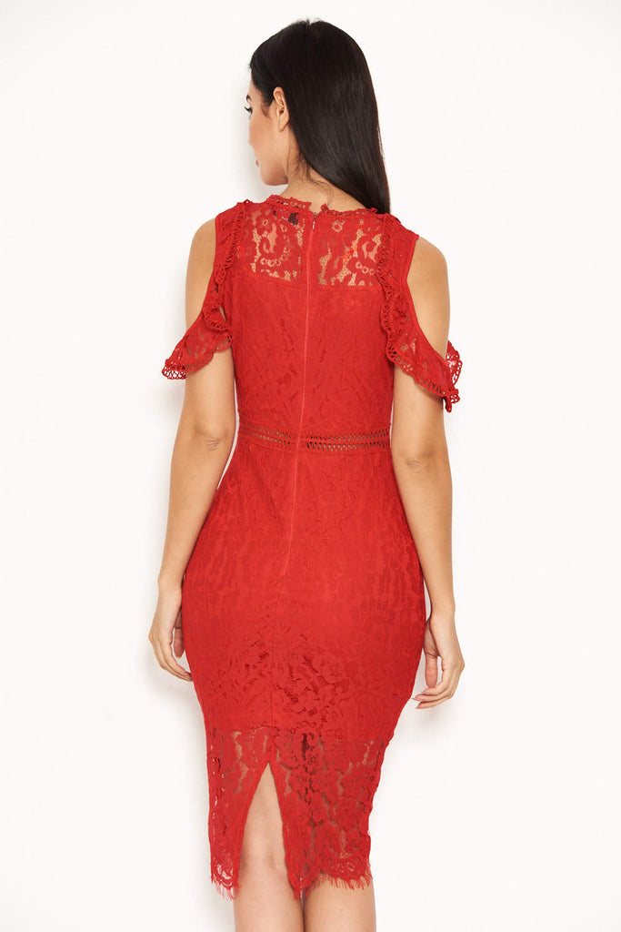 Red Lace Cold Shoulder Midi Dress