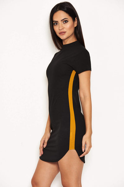 Black Mini Dress With Mustard Panel Detail