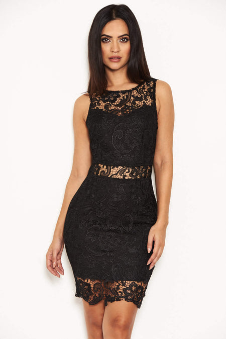 Black Lace Frill Sleeve Midi Dress