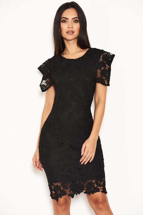 Black Crochet Detail Midi Dress